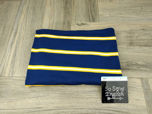 Navy/Yellow COREY STRIPE - Double Brushed Poly Spandex -By The Yard