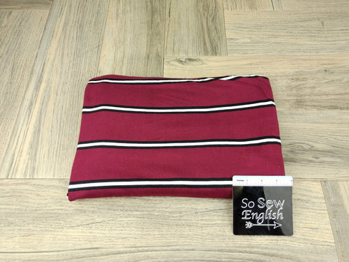 Burgundy/White COREY STRIPE - Double Brushed Poly Spandex -By The Yard