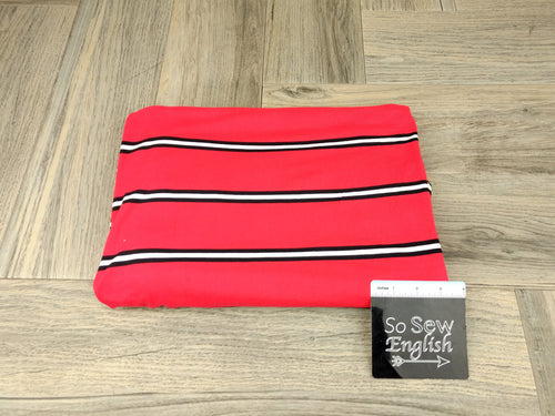 Red/White COREY STRIPE - Double Brushed Poly Spandex -By The Yard