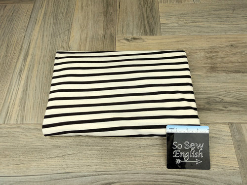 Ivory/Black Stripe - Modal Spandex - By the yard
