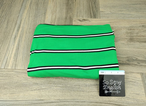 Green/Black/White COREY STRIPE - Double Brushed Poly Spandex -By The Yard