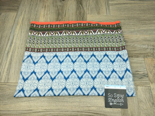 Blue/Olive/Orange Border Medallion Boho- Rayon Challis WOVEN - By the yard