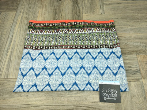 Aqua/Neon Boho- Wool Dobby WOVEN - By the yard