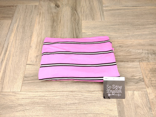 Pink/Black/White COREY STRIPE - Double Brushed Poly Spandex -By The Yard