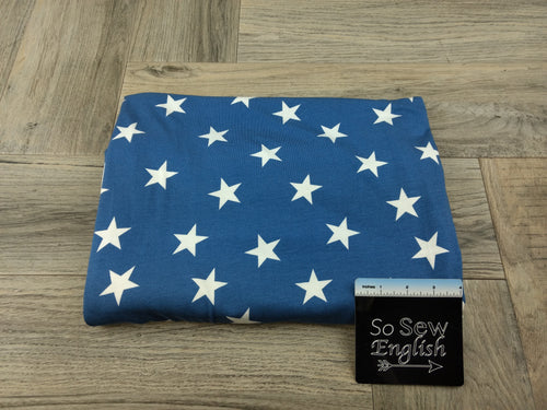Blue Patriot Star - Rayon Spandex -By the yard