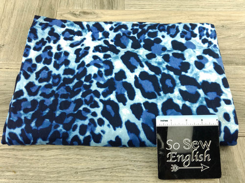 Navy/Denim BIG ANIMAL - Double Brushed Poly Spandex -By The Yard (animal cheetah)