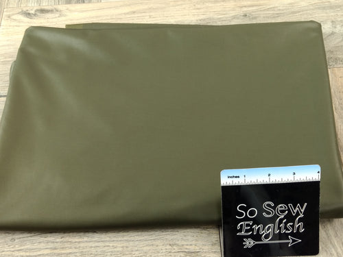 Olive Faux Foil Leather -Faux Stretch Leather - By the yard