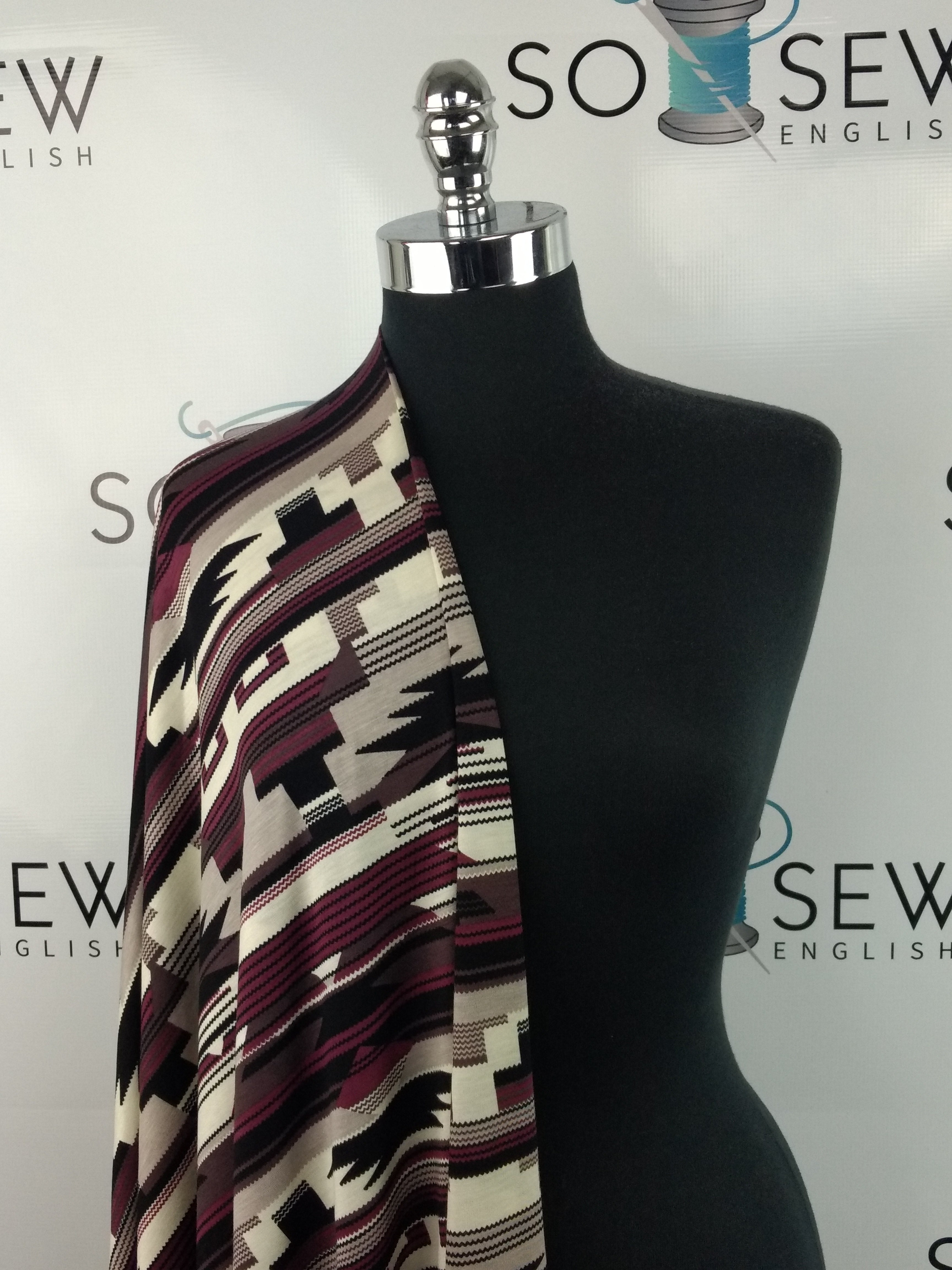 Plum/Black AZTEC - Rayon Spandex -By the yard