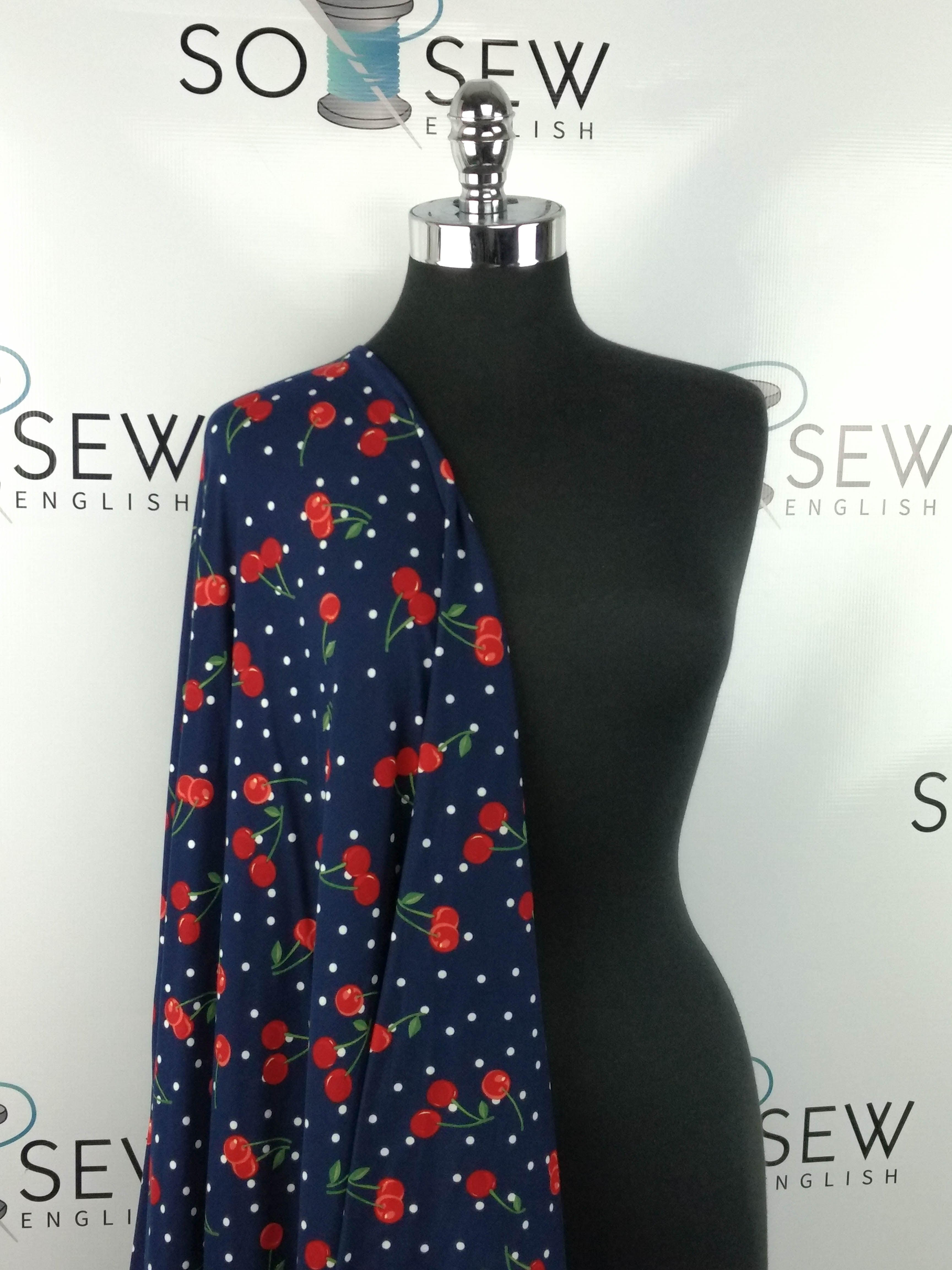 Navy CHERRY DOTS - Double Brushed Poly Spandex -By The Yard