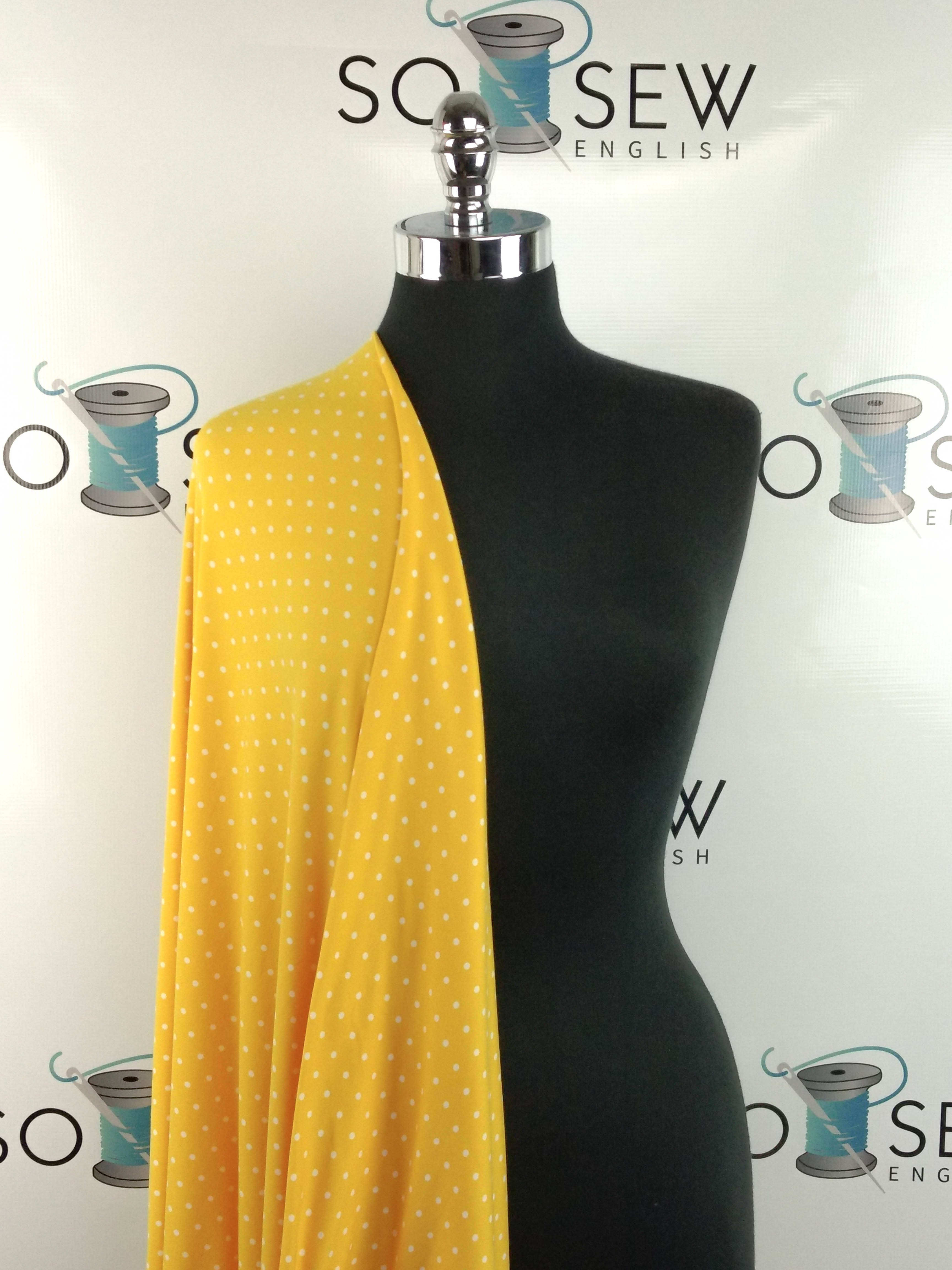 Gold LITTLE POLKA DOTS - Double Brushed Poly Spandex -By The Yard