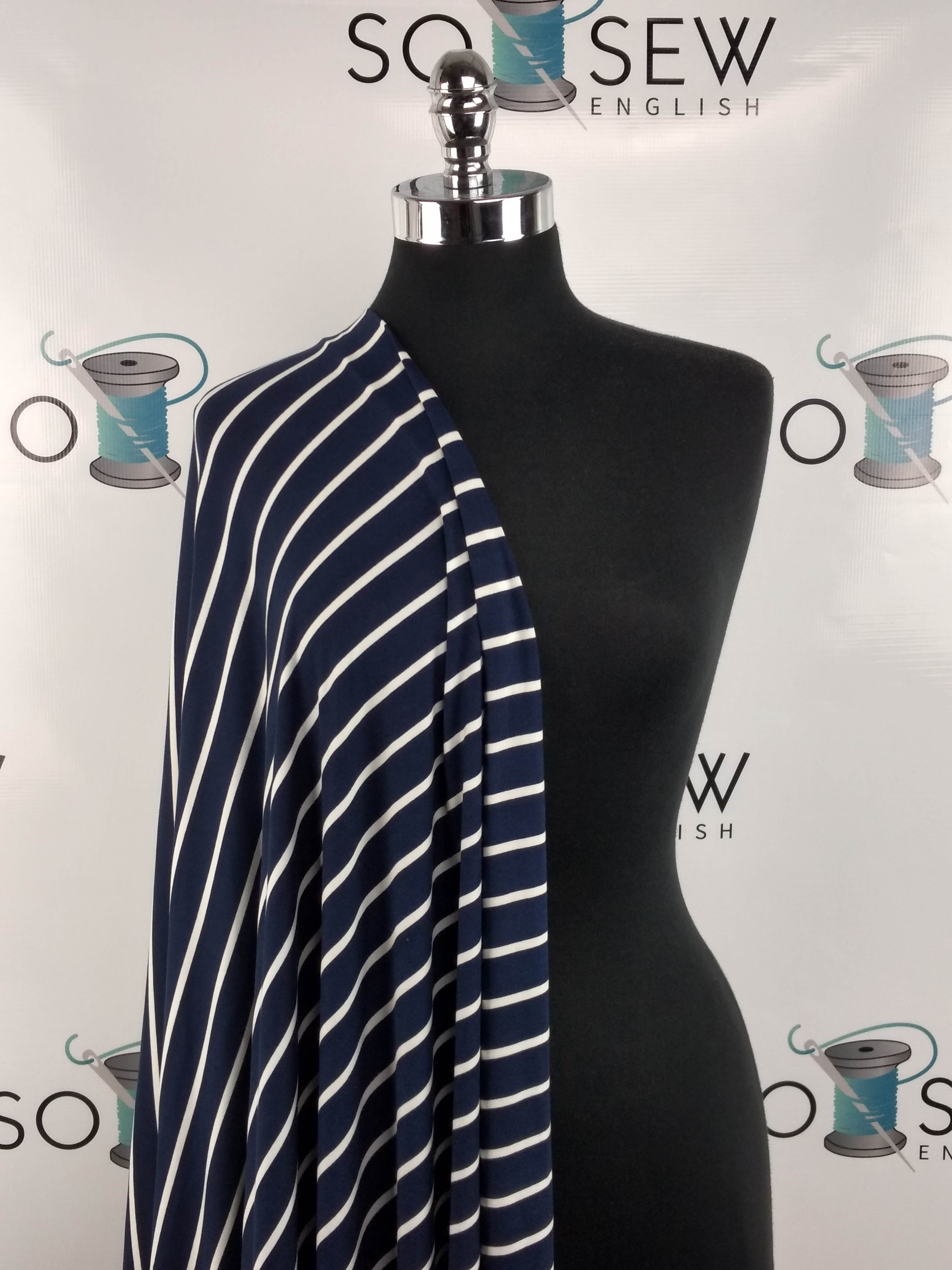 Navy/White SAM STRIPE- Double Brushed Poly Spandex -By The Yard
