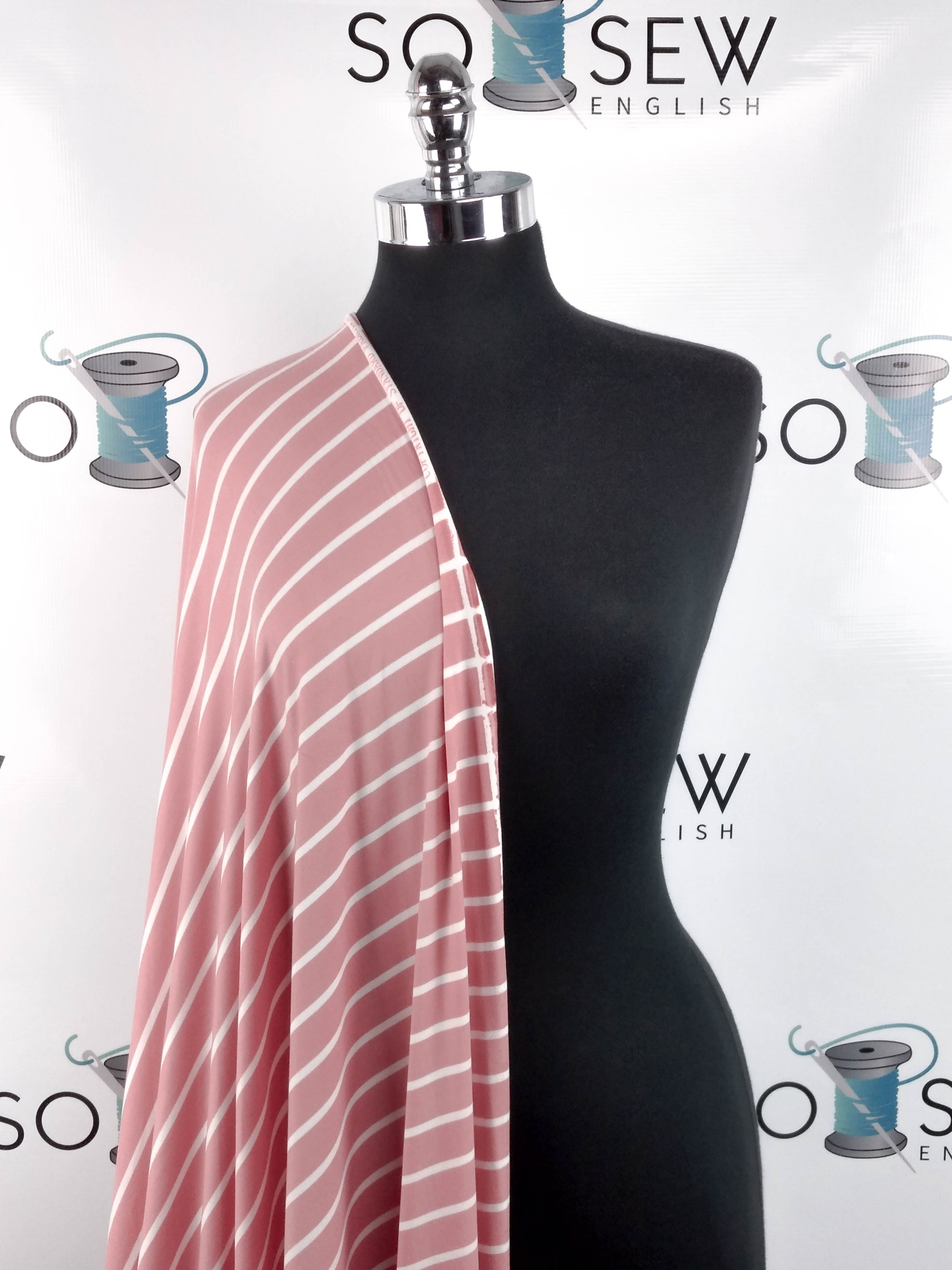 Blush/White SAM STRIPE- Double Brushed Poly Spandex -By The Yard