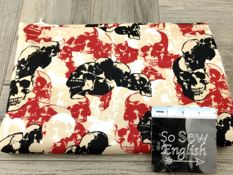 Tan/Red SKULLS -Cotton Spandex - By The Yard