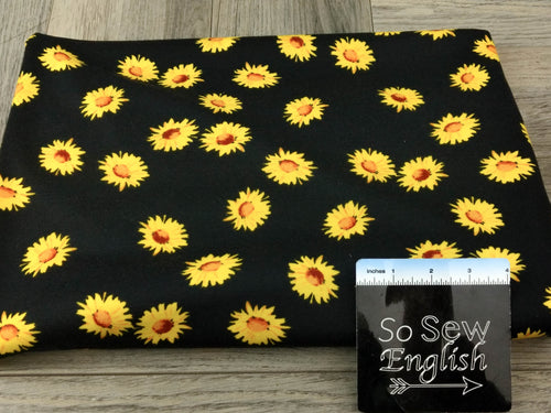 Black Sunflower -PONTE Knit - By The Yard