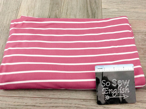 Mauve/White SAM STRIPE- Double Brushed Poly Spandex -By The Yard