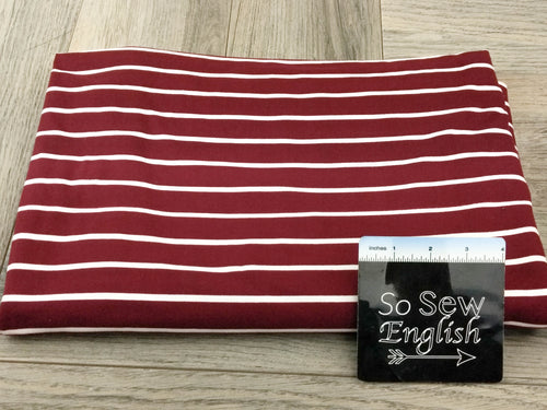 Burgundy/White SAM STRIPE- Double Brushed Poly Spandex -By The Yard