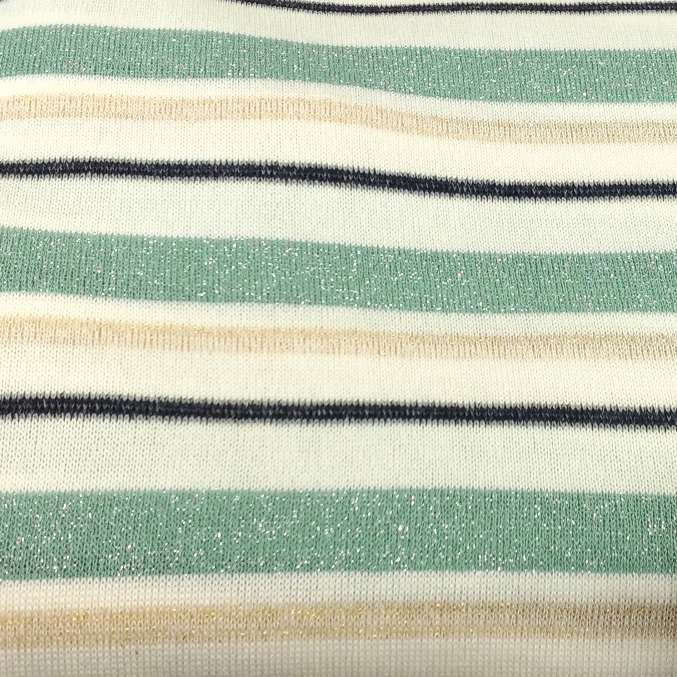 Dusty Teal Stripe - Lurex Hacci - By The Yard