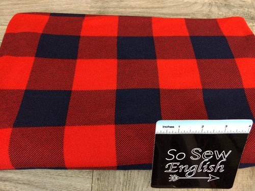Red/Navy Buffalo Plaid - Brushed Hacci - By The Yard