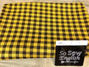 Black/Mustard SMALL CHECK PLAID- Jacquard DOUBLE Knit - By the yard