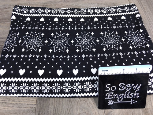 Black SNOWFLAKES & TREES - Double Brushed Poly Spandex -By The Yard (Christmas)