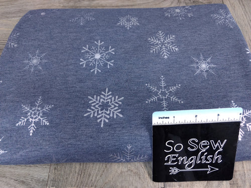 Heathered Navy Foil SNOWFLAKE -French Terry- By the yard (Christmas)