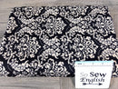 Black DAMASK -Quilted Knit - By the yard