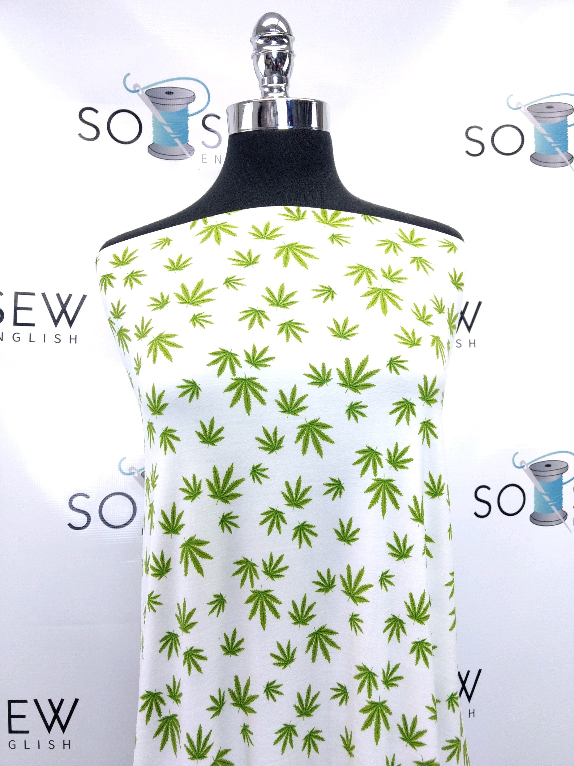 Ivory CANNABIS - Double Brushed Poly Spandex -By The Yard