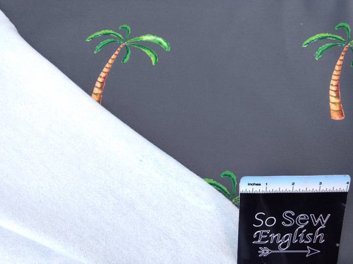 Grey Palm Tree (non stretch) -Brushed French Terry- By the yard