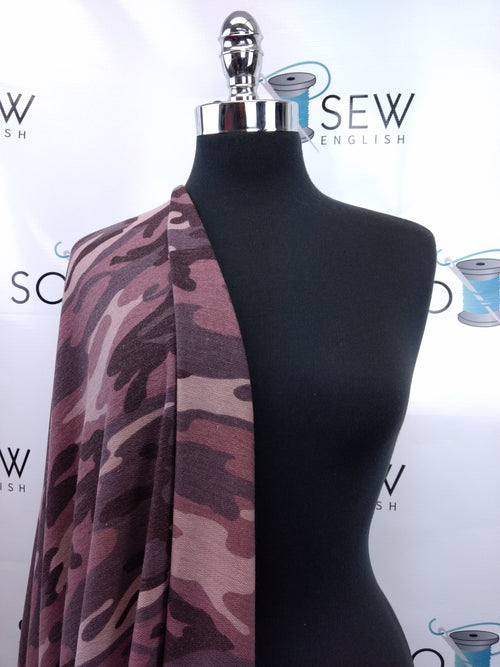 READY CUT: 3YDS mauve camo FT (right side loops) :RC001038