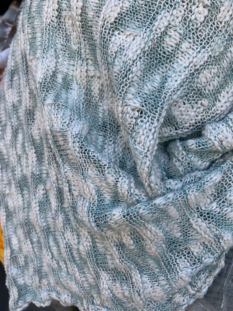 Teal/Ivory - Textured Loose Sweater Knit - By The Yard