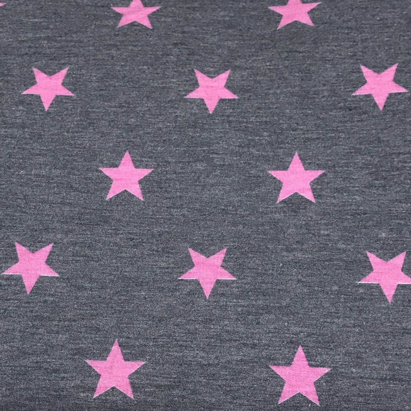 Navy/Pink STARS -Poly Rayon Spandex French Terry - By the yard