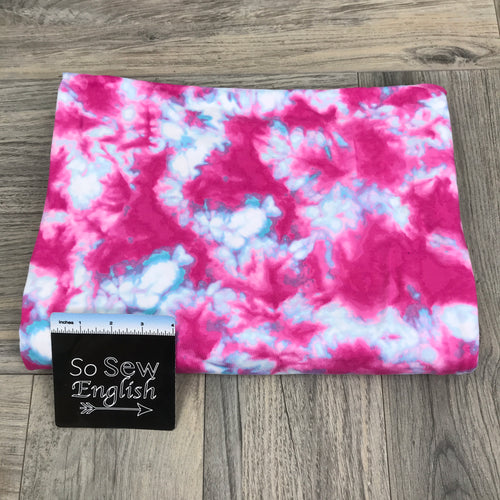 Fuchsia/Aqua SPECTRAL Tie Dye- Double Brushed Poly Spandex -By The Yard