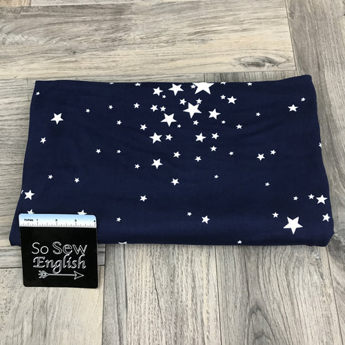 Navy STAR BURST- Double Brushed Poly Spandex -By The Yard