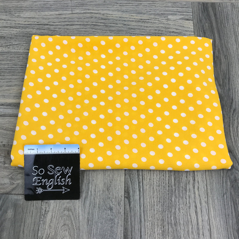 Yellow Polka Dot - Bubble Crepe WOVEN - By the yard