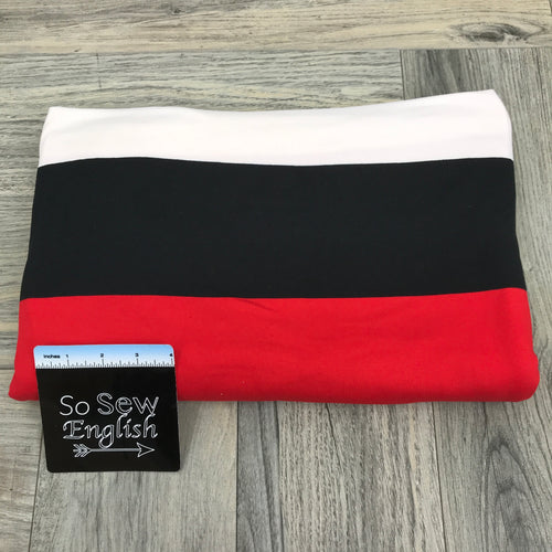 Red/Black SUPER WIDE STRIPES - Double Brushed Poly Spandex -By The Yard