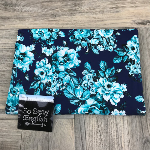 Navy/Mint JARDIN-  Rayon Spandex -By the yard