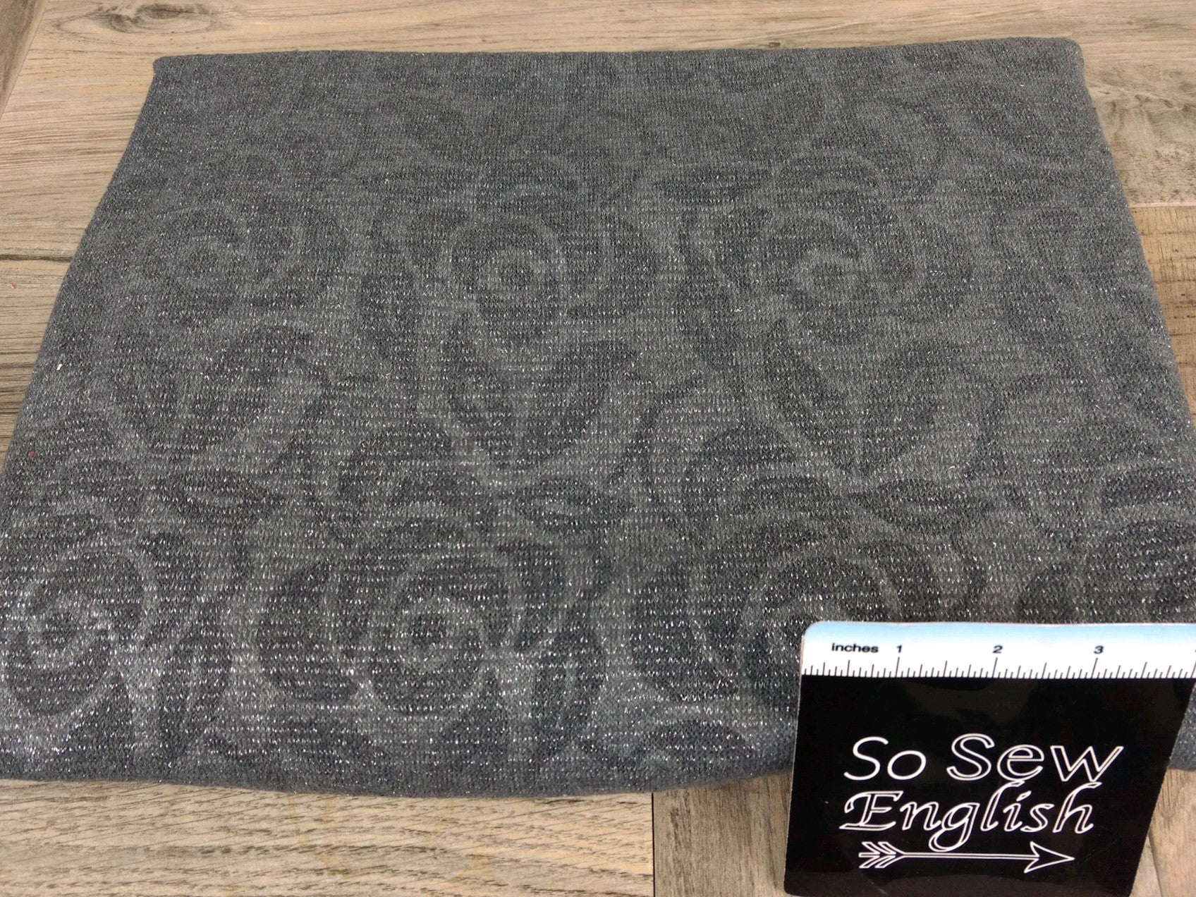 Grey Floral -Lurex Embossed Hacci - By The Yard