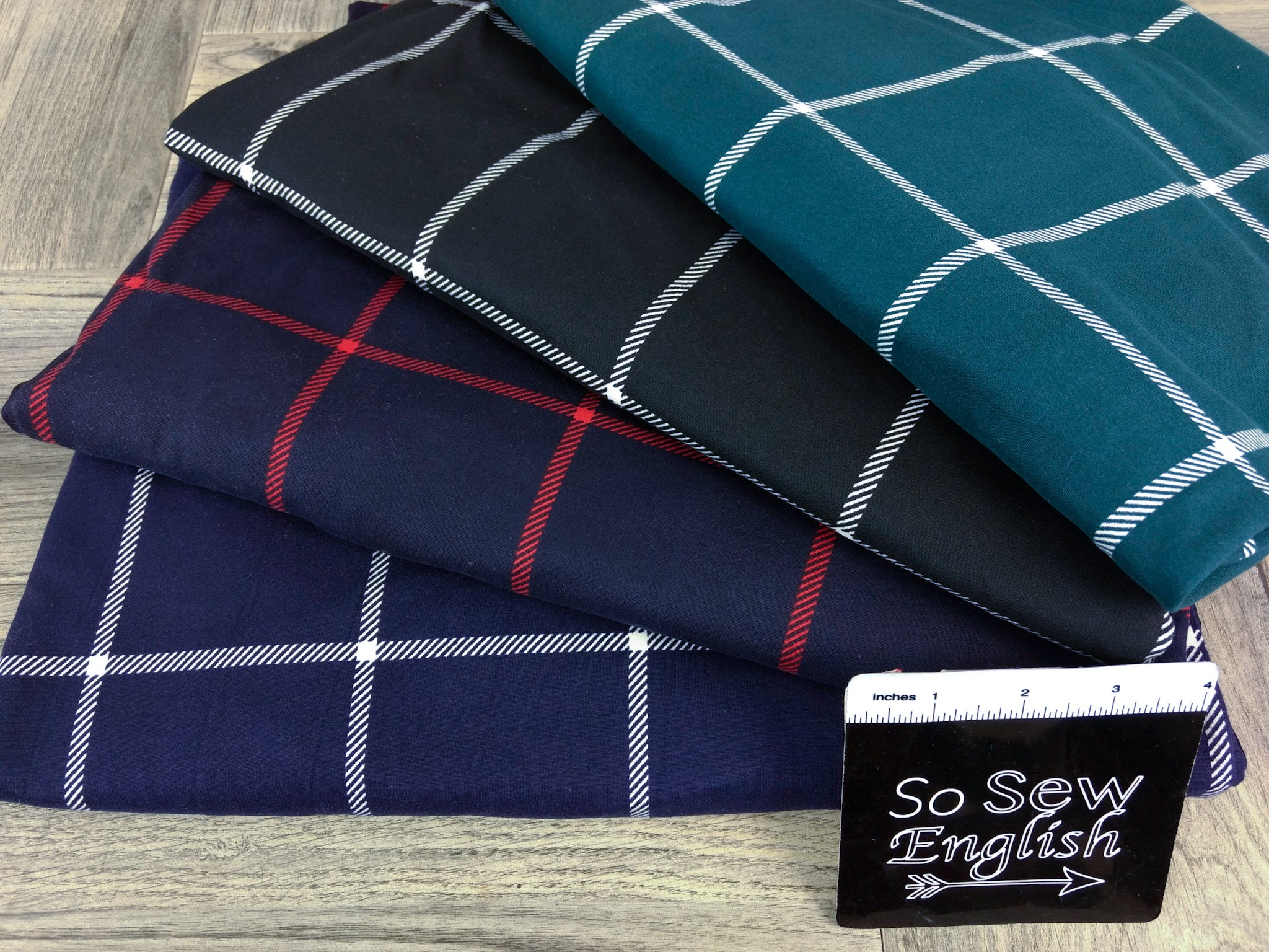 Indigo/Red LARGE WINDOWPANE - Double Brushed Poly Spandex -By The Yard