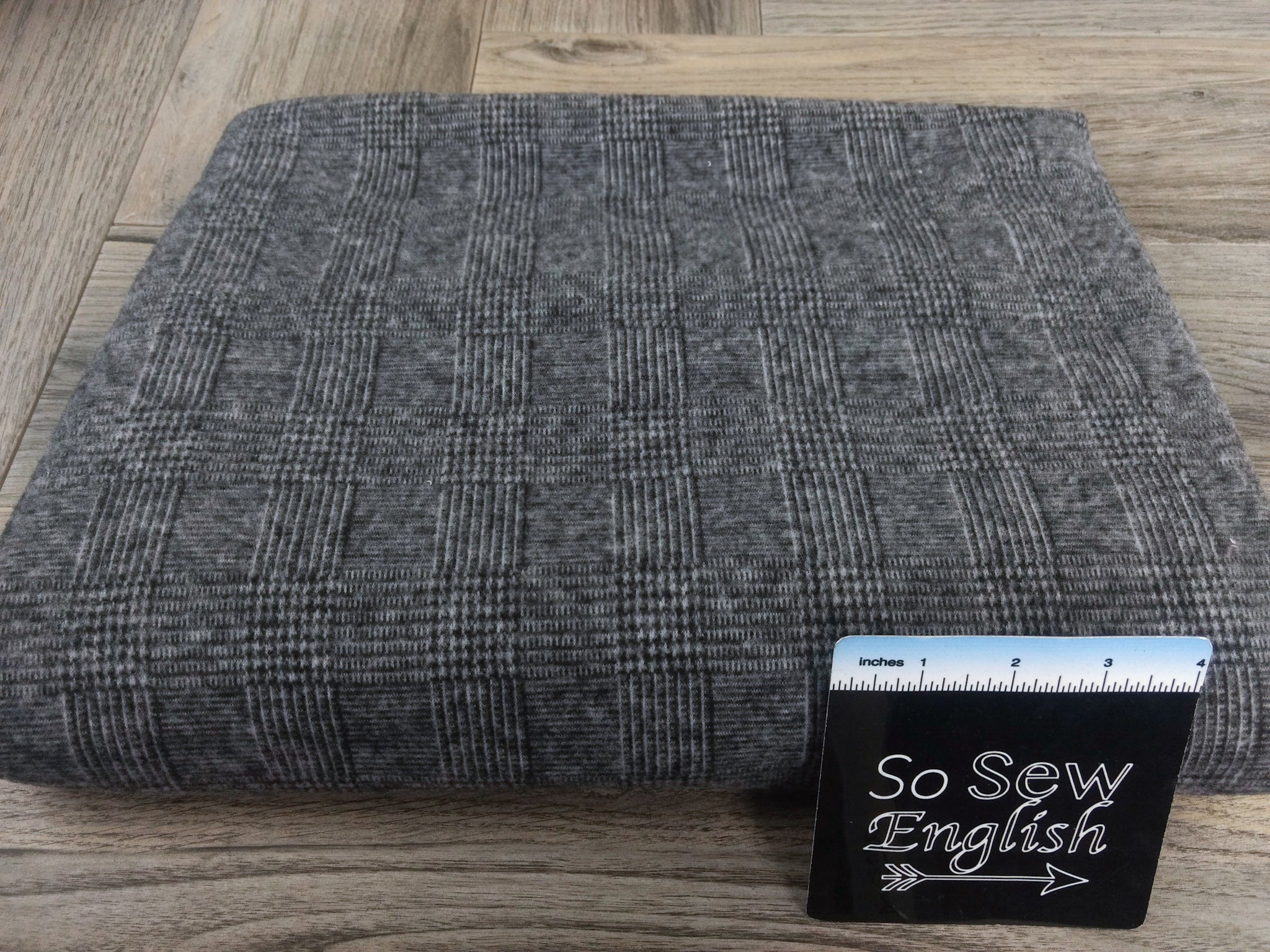 Heathered Box Check - Brushed DOUBLE Knit - By the yard