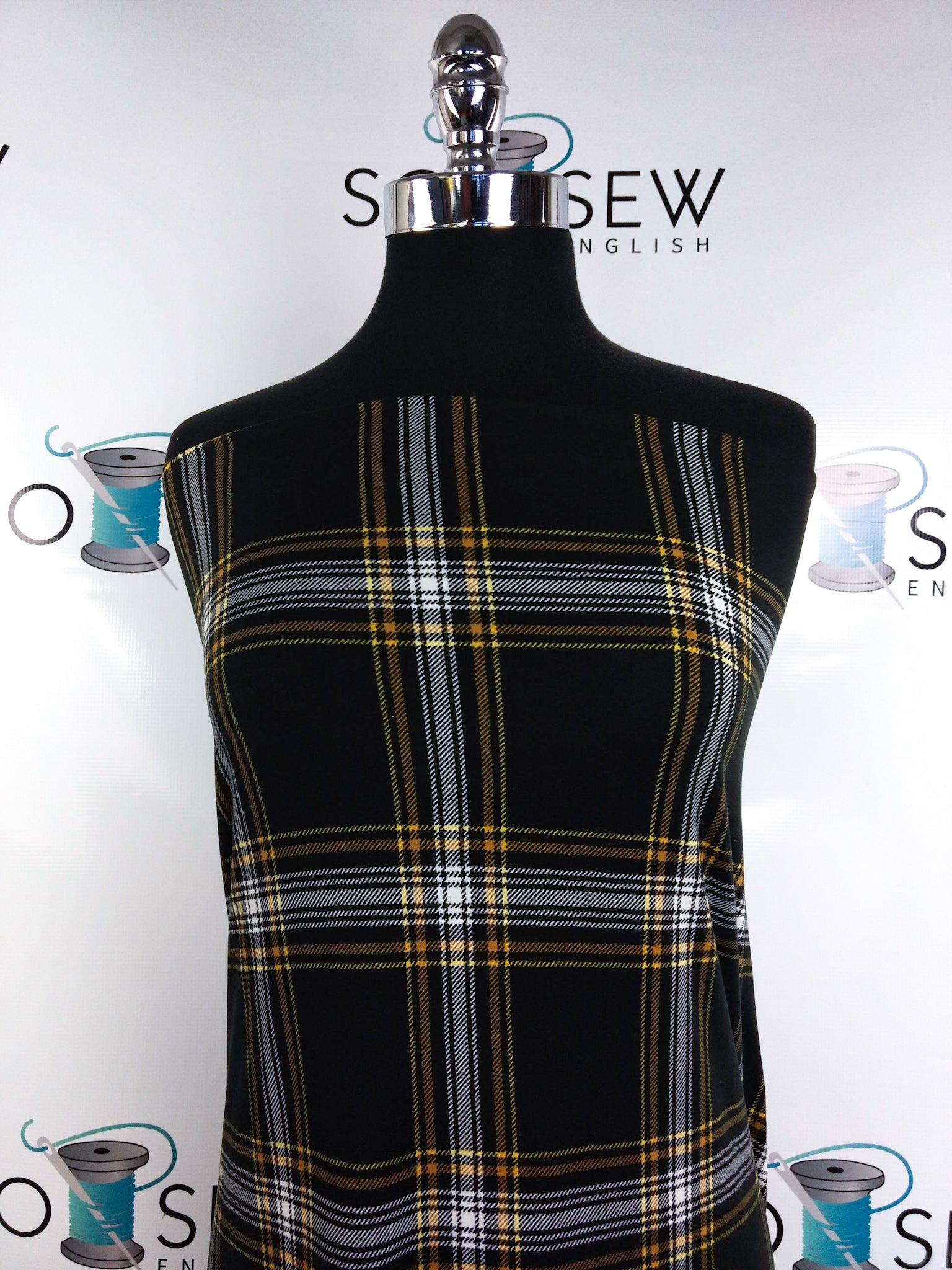 Black/Mustard GRAHAM Plaid - Double Brushed Poly Spandex -By The Yard