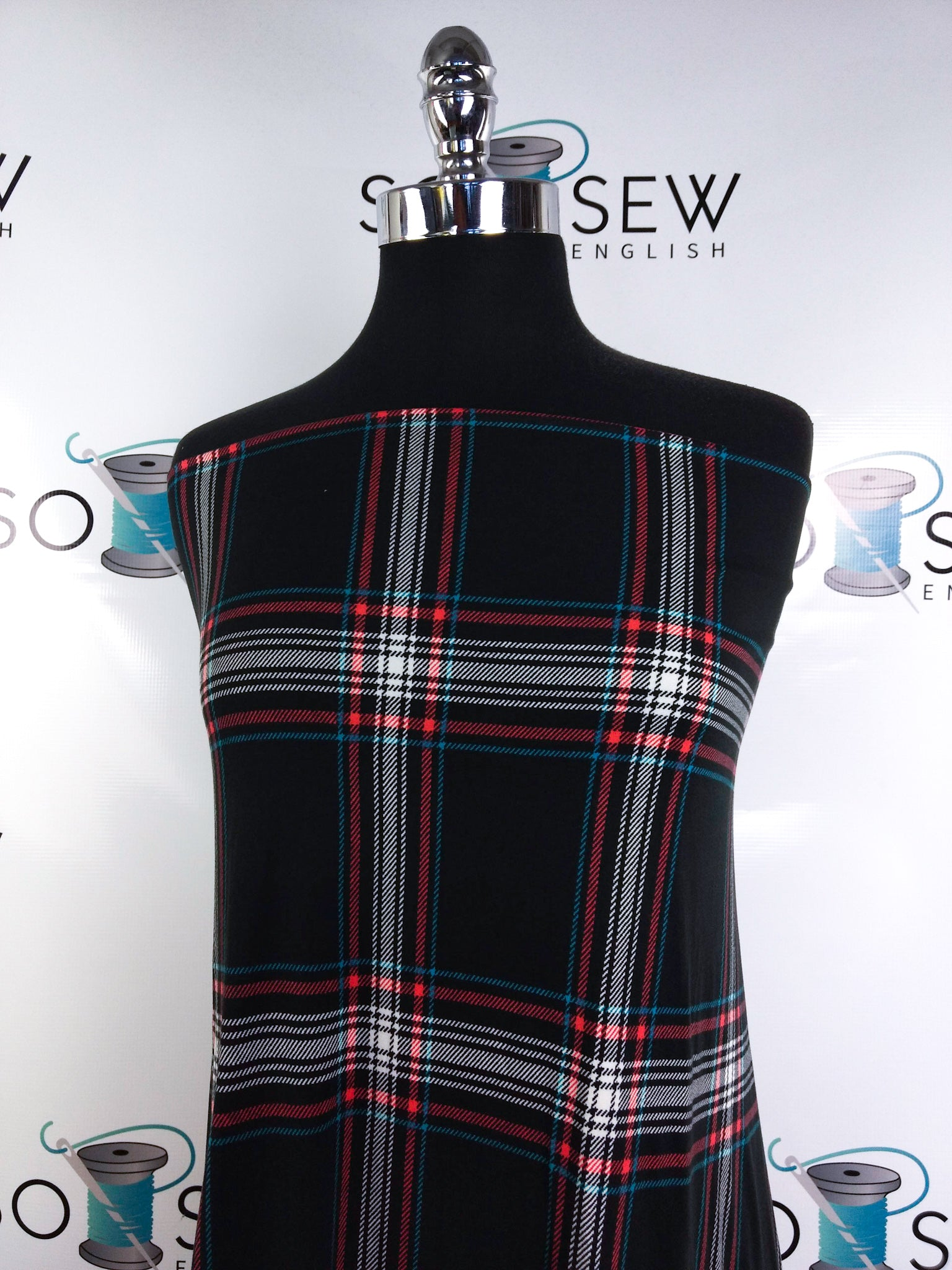 Black/Coral/Blue GRAHAM Plaid - Double Brushed Poly Spandex -By The Yard