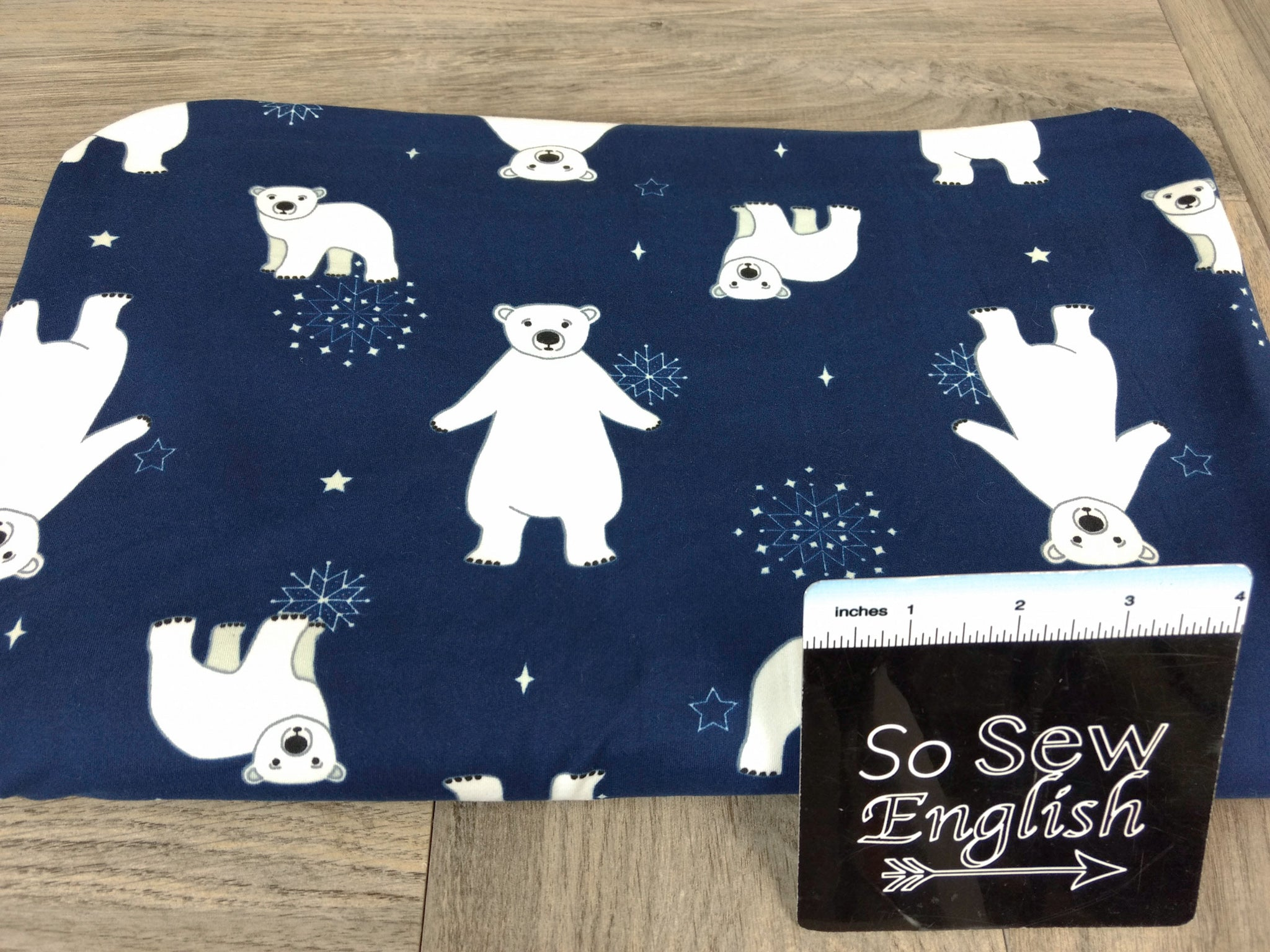 Navy POLAR BEAR - Double Brushed Poly Spandex -By The Yard (Christmas)