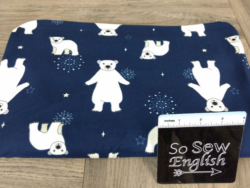 Navy POLAR BEAR - Double Brushed Poly Spandex -By The Yard (Holiday Christmas)