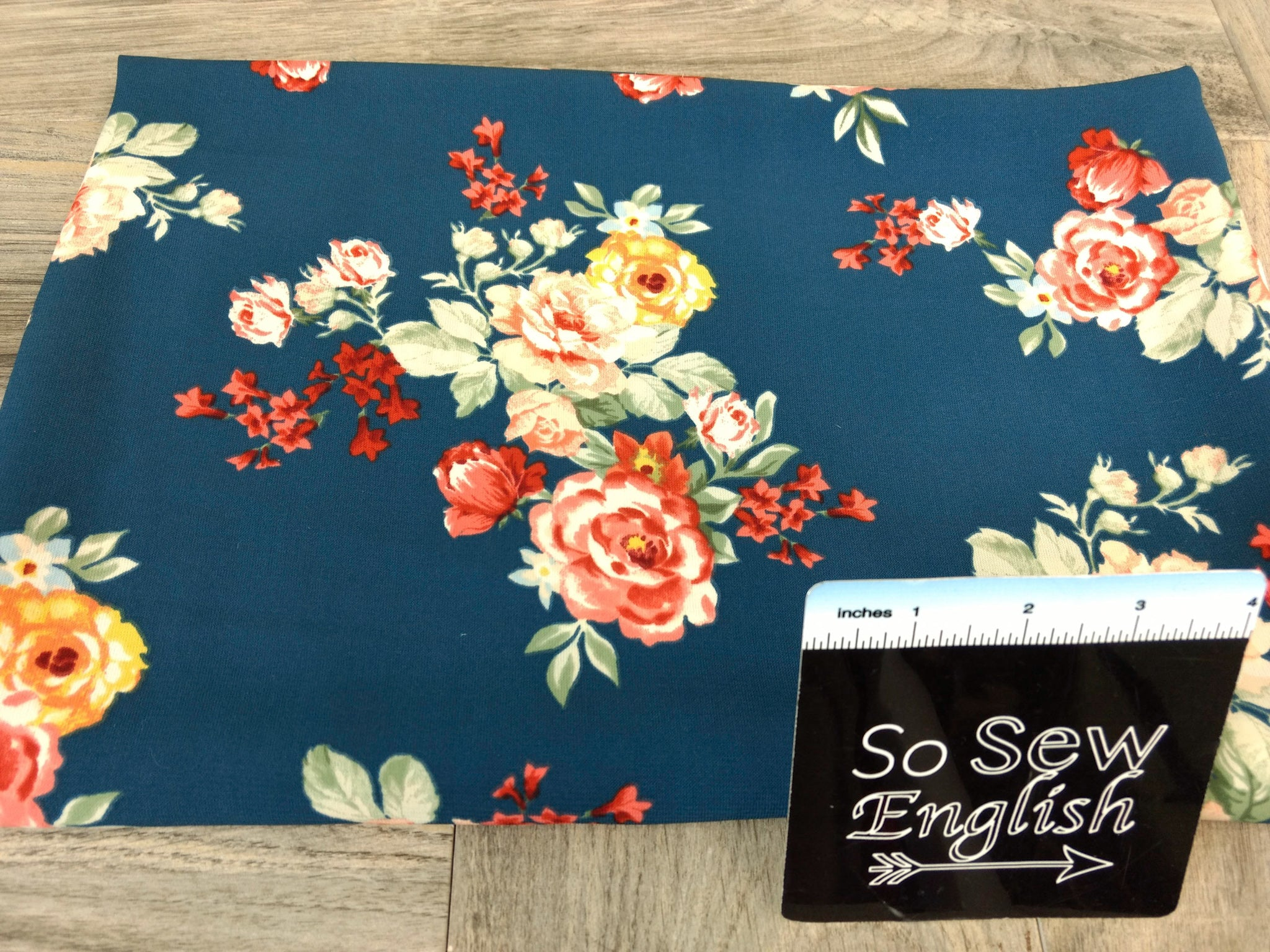 Teal Floral -Crepe De Chine Woven - By the yard