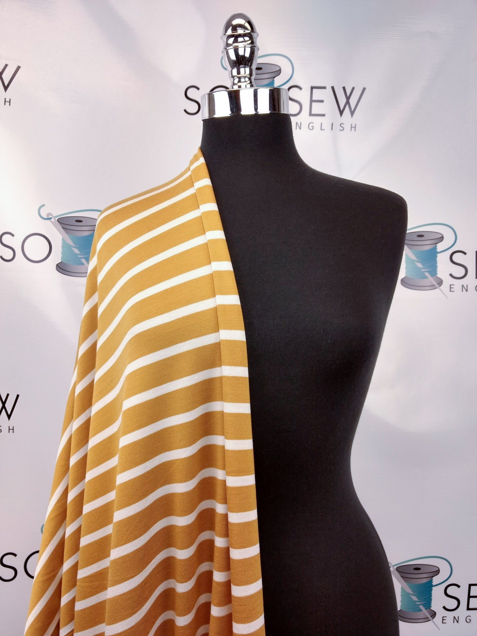Mustard/Ivory STRIPE -lightly brushed Baby French Terry- By the yard