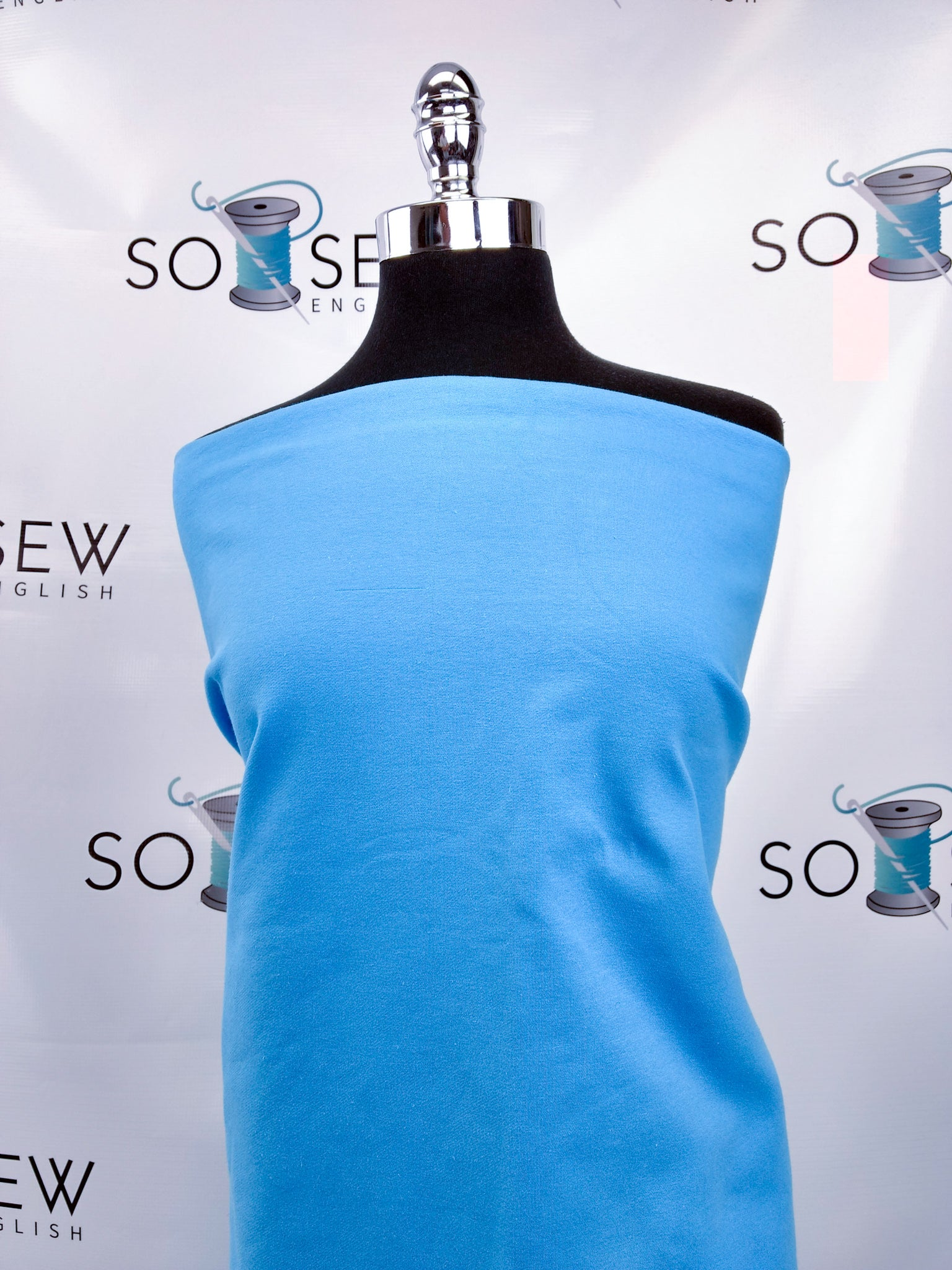 Solid Aqua -Cotton French Terry- By the yard