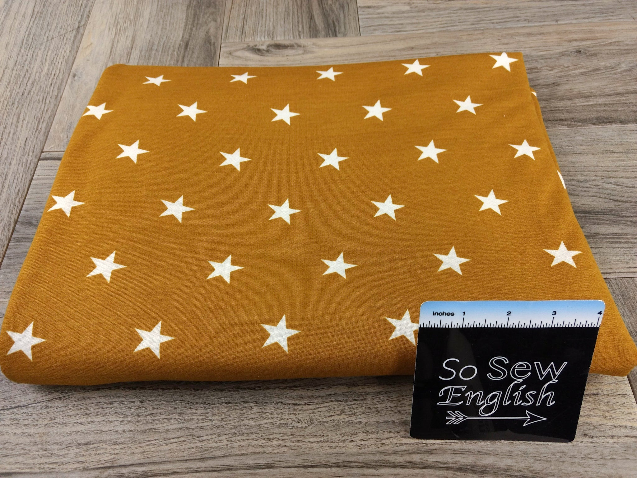 Mustard/Ivory STARS -French Terry- By the yard