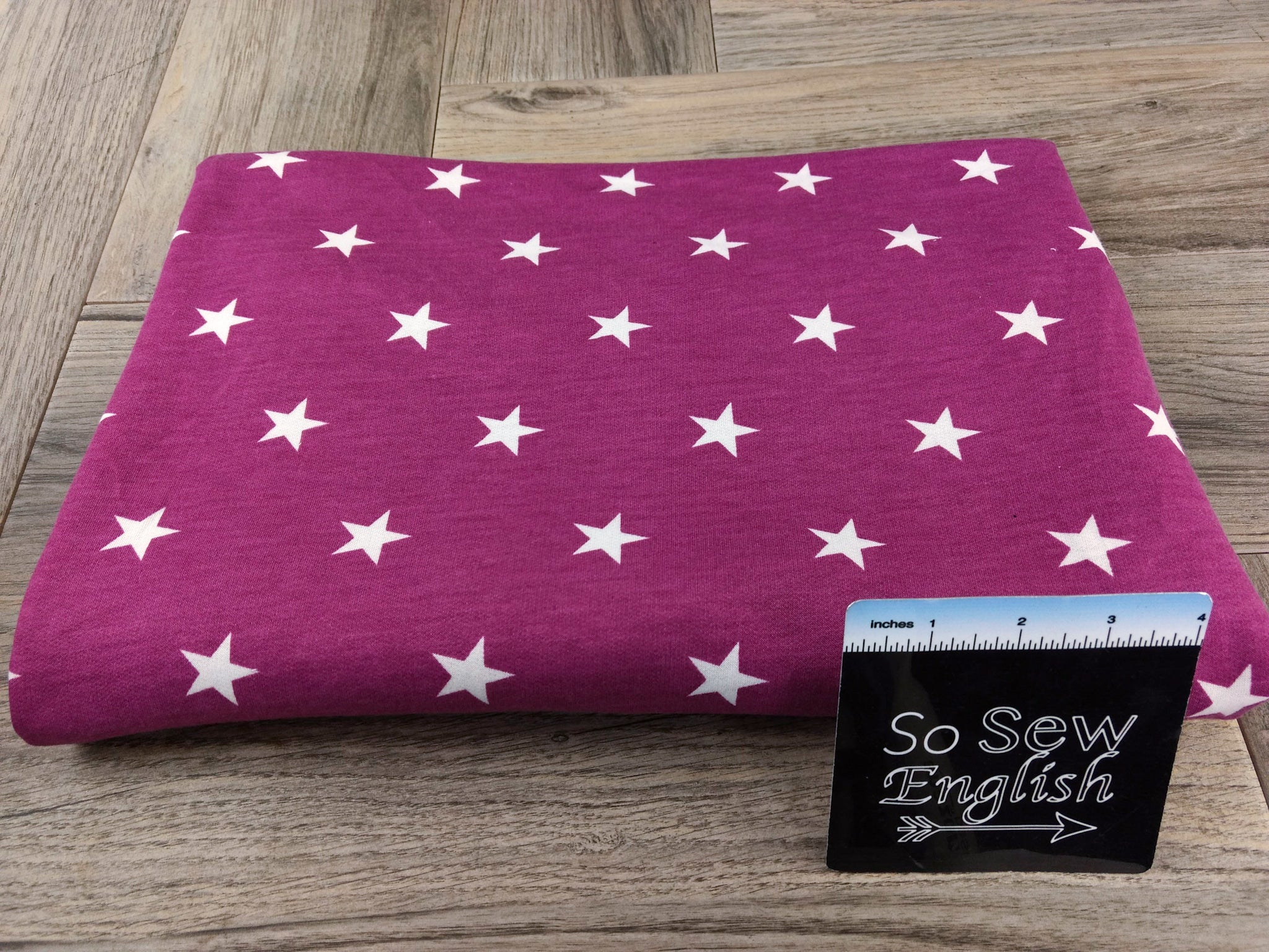 Deep Fuchsia/Ivory STARS -French Terry- By the yard