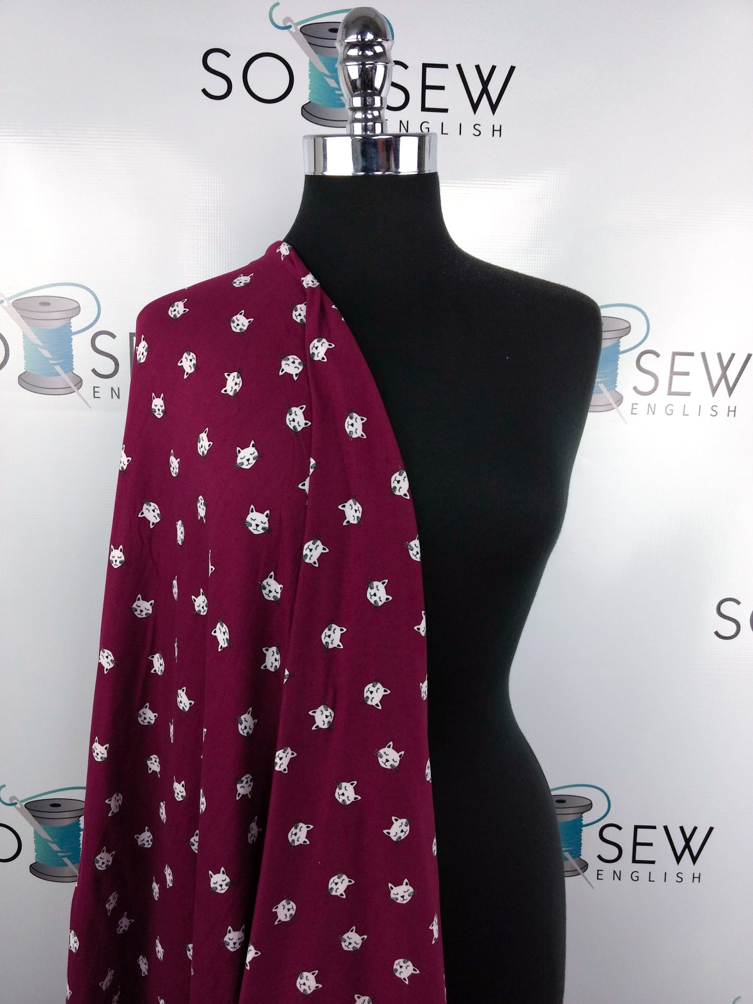 Burgundy KITTY - Double Brushed Poly Spandex -By The Yard