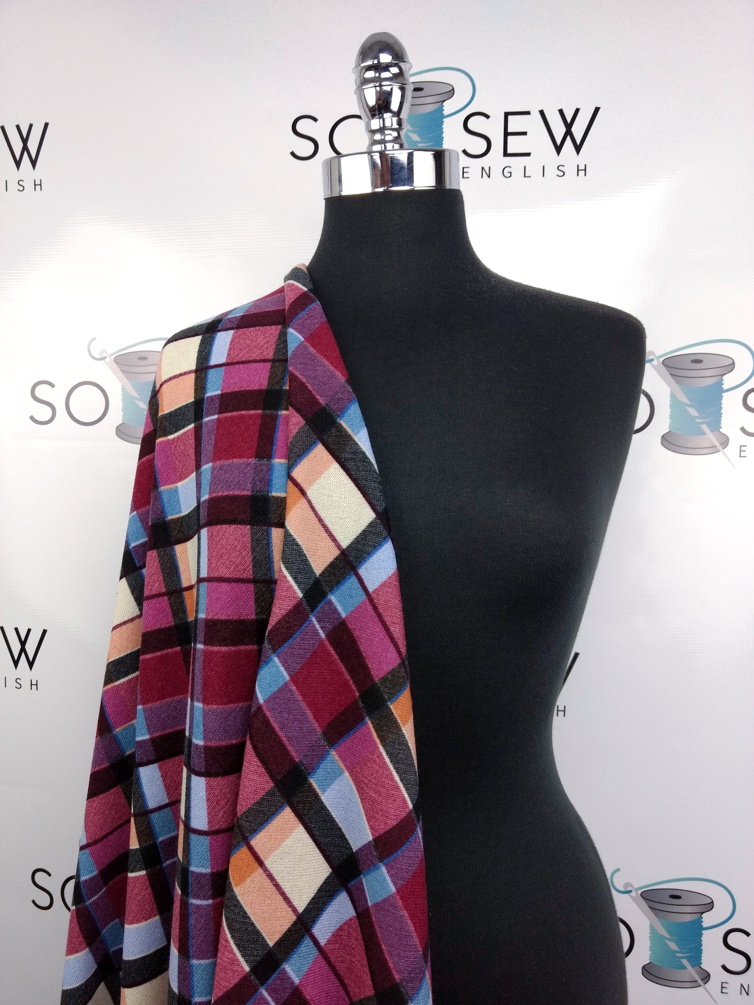Magenta/Blue Diagonal Plaid - Hacci - By The Yard